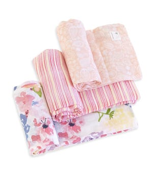 Watercolor Spring Bouquet Organic Cotton Woven Muslin Baby Swaddle Blankets 3 Pack