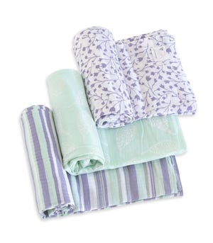 Floral Forest Organic Cotton Woven Muslin Baby Swaddle Blankets 3 Pack