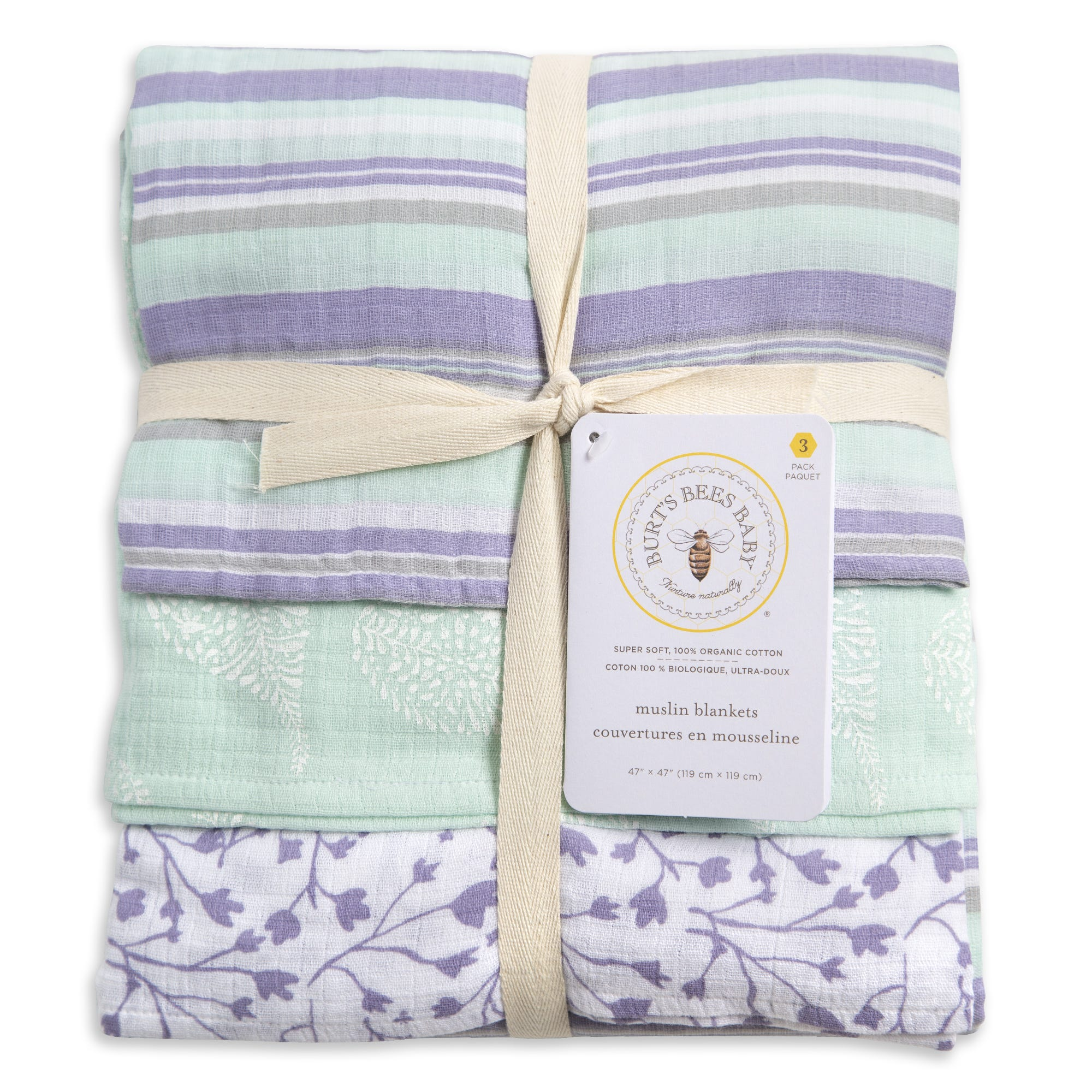 Floral Forest Organic Baby Muslin Swaddle Blankets 3 Pack