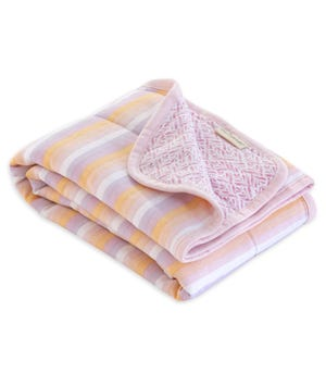 Watercolor Sunset Stripe Jersey Knit Organic Reversible Baby Blanket