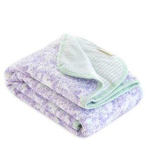 Watercolor Floral Lost in Lilac Jersey Knit Organic Reversible Baby Blanket