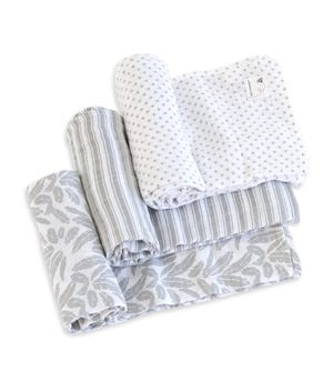 Dottie Bee Organic Cotton Woven Muslin Baby Swaddle Blankets 3 Pack Fog