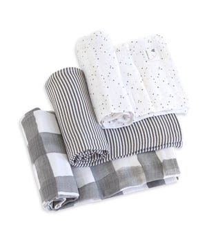 Watercolor Starry Eyes Organic Cotton Woven Muslin Baby Swaddle Blankets 3 Pack