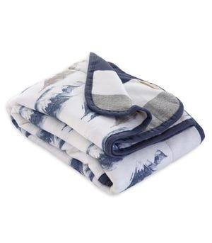Watercolor Mountains Print Jersey Knit Organic Reversible Baby Blanket