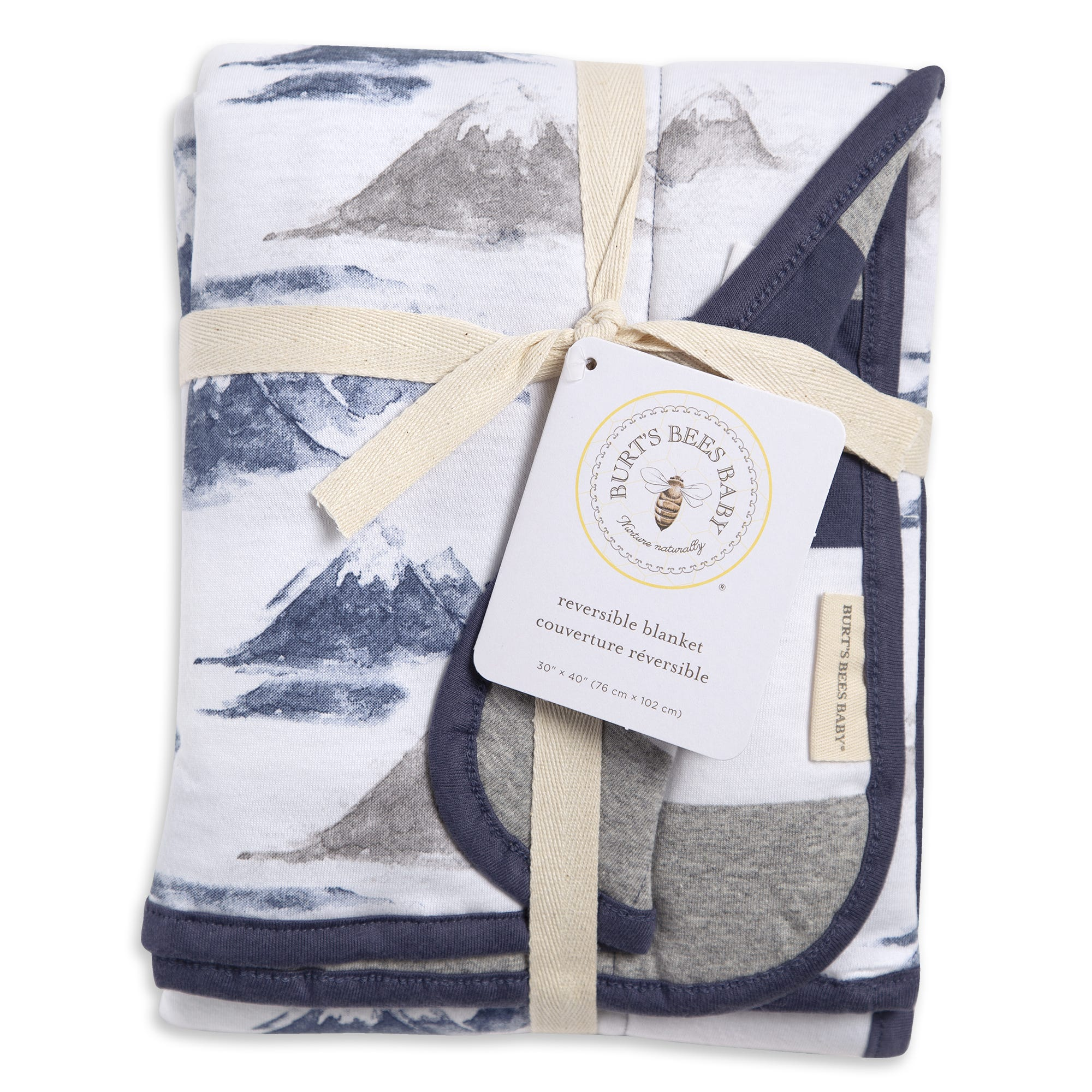 Watercolor Mountains Reversible Soft Baby Blanket Made With Organic Cotton