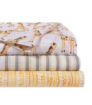 Giraffe Organic Cotton Woven Muslin Baby Swaddle Blankets 3 Pack