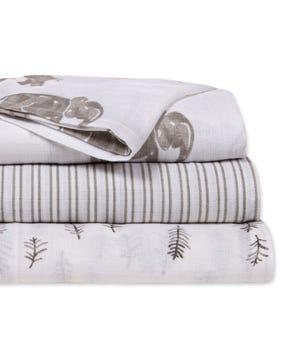 Neutral Wandering Elephants Organic Cotton Woven Muslin Baby Swaddle Blankets 3 Pack