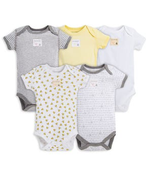 Bee Essentials Organic Short Sleeve Baby Bodysuits Set of 5