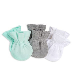 3 Pack Organic Baby Mittens Seaglass One Size