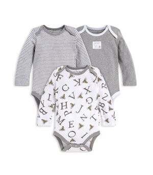 A-Bee-C Organic Baby 3 Pack Long Sleeve Bodysuits
