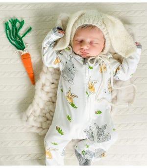 Easter Bunny Trail Watercolor Organic Baby Sleep & Play Pajamas