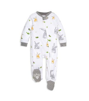 Easter Bunny Trail Watercolor Organic Baby Sleep & Play Pajamas