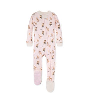 Oh Deer! Organic Baby Zip Front Snug Fit Footed Pajamas