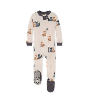 Forest Friends Organic Baby Zip Front Snug Fit Footed Pajamas Slate 18 Months