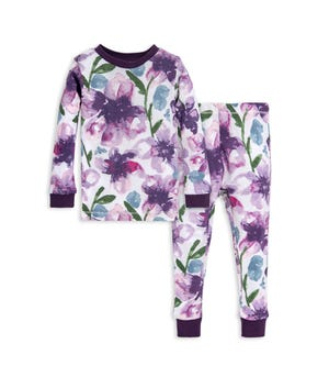 Watercolor Daylily Organic Baby Pajama Set Aubergine 12 Months