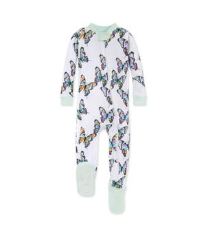 Cascading Butterflies Organic Baby Zip Front Snug Fit Footed Pajamas Seaglass 12 Months