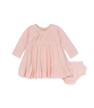 Pointelle Organic Baby Bubble Dress & Diaper Cover Set Dawn 12 Months