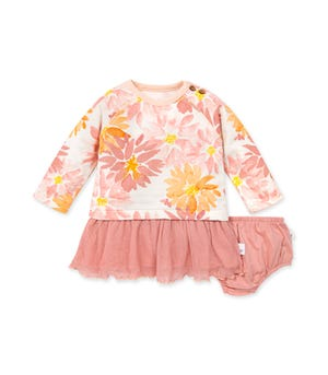 Baby Autumn Picks Organic Cotton  Tulle Dress & Diaper Cover Set Eggshell 18 Months