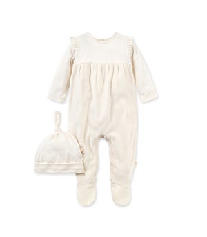 Velour Organic Baby Jumpsuit & Knot Top Hat Set