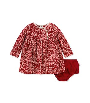 Swirly Twigs Organic Baby Holiday Dress & Diaper Cover Set Cranberry 0-3 Months