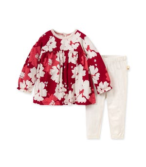 Sprinkling Petals Baby Floral Tunic & Legging Set Made with Organic Cotton Cranberry 0-3 Months