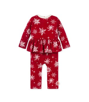 Vintage Snowflakes Organic Baby Holiday Jumpsuit Cranberry 0-3 Months