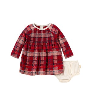 Plaid Organic Baby Holiday Dress & Diaper Cover Set Cranberry 24 Months