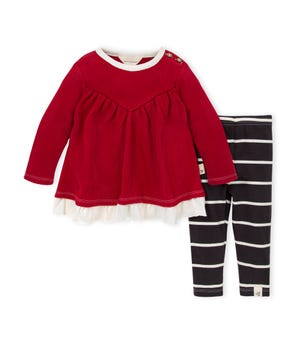 Organic Baby Thermal Holiday Tunic & Legging Set Cranberry 0-3 Months