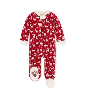 Stags in the Snow Organic Baby Loose Fit Footed Holiday Pajamas Cranberry Newborn