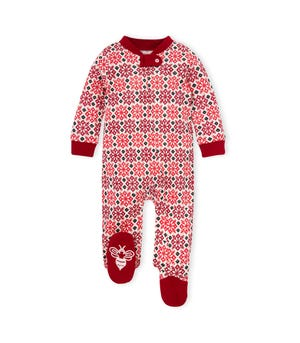 Snowflake Fair Isle Organic Baby Loose Fit Footed Holiday Pajamas Cranberry 3-6 Months