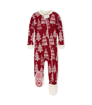 Bold Evergreens Organic Baby  Zip Up Footed Holiday Pajamas Cranberry 9 Months