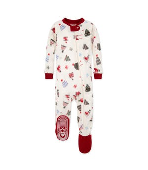 Holiday Hats Organic Baby  Zip Up Footed Holiday  Pajamas Cranberry 12 Months
