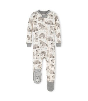 Snowy Explorer Organic Baby  Zip Up Footed Holiday Polar Bear  Pajamas Heather Grey 18 Months