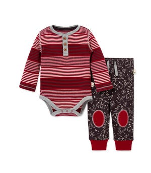 Holiday in the Stars Organic Baby Bodysuit & Pant Set Cranberry 3-6 Months