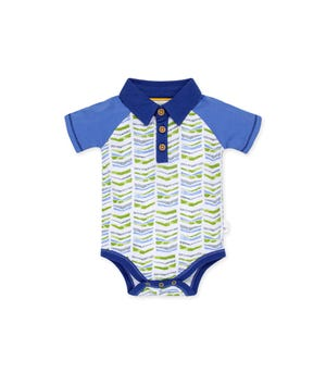 Graphic Chevron Organic Baby  Polo Bodysuit