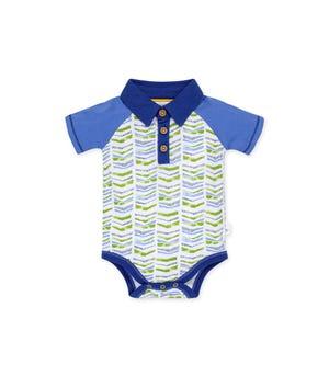Graphic Chevron Organic Baby  Polo Bodysuit