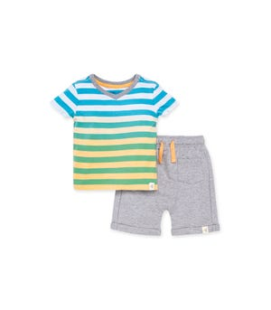Dip Dye Stripe Organic Baby Tee & French Terry Short Set Cantaloupe 0-3 Months