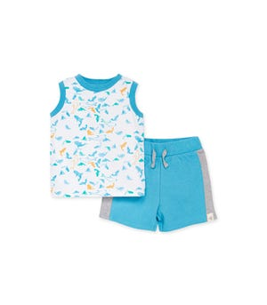 Shark Attack Organic Baby Tank & French Terry Short Set Ocean Tide 0-3 Months