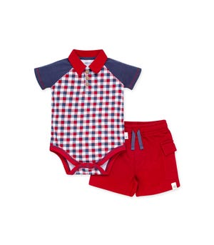 Picnic Plaid Organic Baby Polo Bodysuit & French Terry Short Set Cherry 0-3 Months