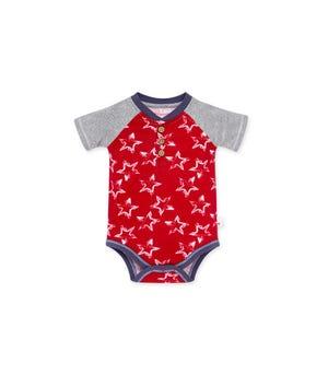 Painted Stars Organic Baby Henley Bodysuit Cherry 24 Months