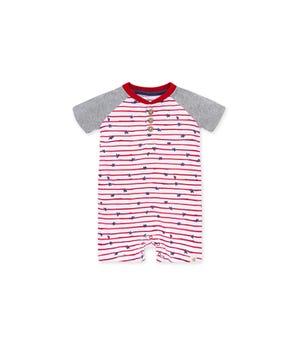 Stars n Stripes Organic Baby Henley Romper Cherry 0-3 Months