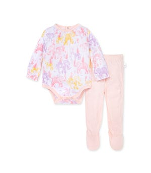 Ello Elephant Organic Baby Bodysuit & Honeycomb Pointelle Pant Set