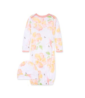 Sunburst Floral Organic Baby Gown & Cap Set