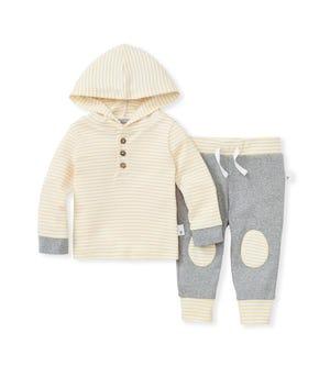 Hooded Stripe Organic Baby Tee & Pant Set