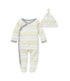 Rain Stripe Organic Baby Jumpsuit & Knot Top Hat Set
