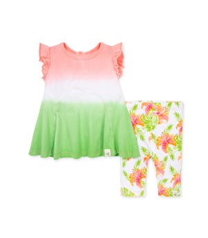 Dip Dye Organic Baby Tunic & Lily Oasis Capri Legging Set Strawberry Lemonade 12 Months