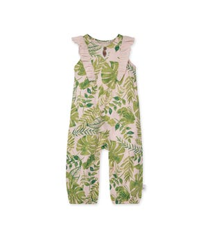 Jungle Leaves Organic Baby Ruffle Jumpsuit Dawn 0-3 Months