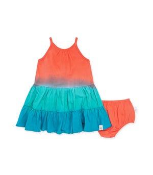 Dip Dye Organic Baby Dress & Diaper Cover Set Ocean Tide 0-3 Months
