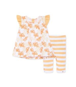 Watercolor Coral Organic Baby Tunic &  Capri Legging Set