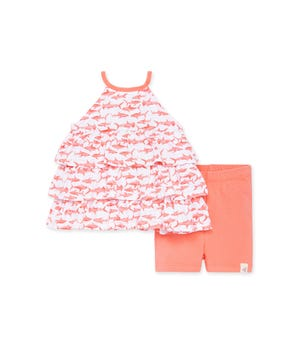 Pink Sharks Organic Baby Ruffled Tunic & Bike Short Set Shrimp 0-3 Months